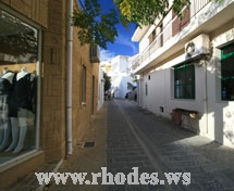 A small road of Kalithies in Rhodes Greece